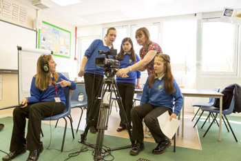 Pupils at Bridge Farm Primary School interview artists on Future Perfect.  Photo: Max McClure